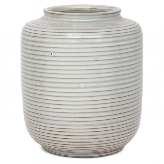 White Ribbed Ceramic Vase