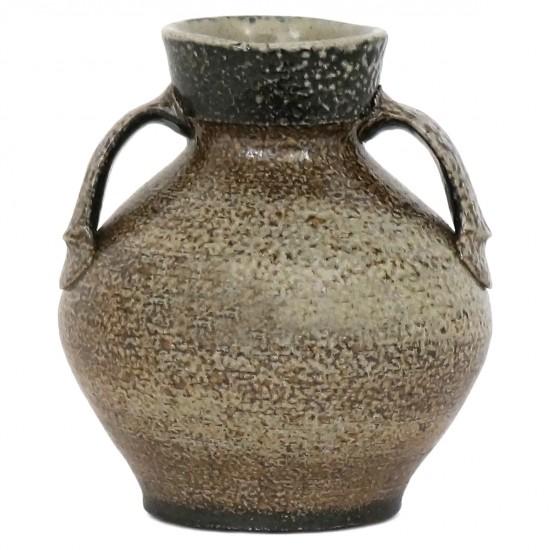 Beige and Brown Stoneware Vase