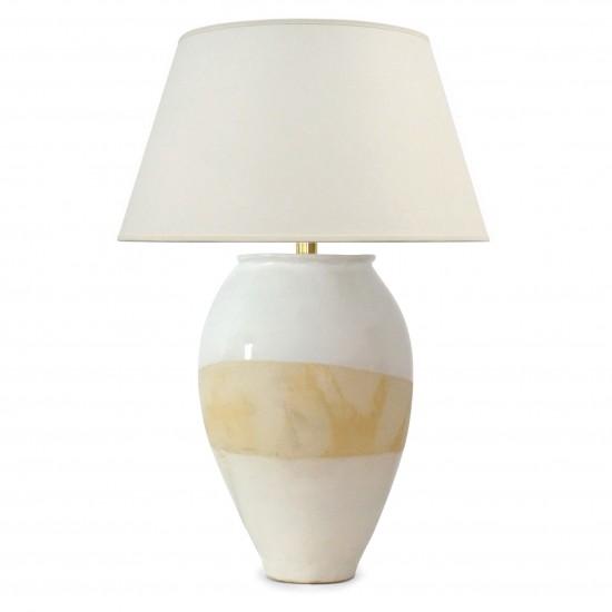 Partially Glazed Stoneware Lamp