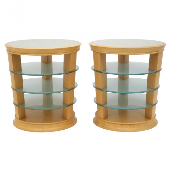 Pair of Blond Wood and Glass Side Tables