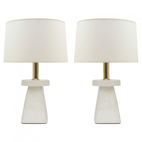 Pair of Tapered Square White Plaster Lamps
