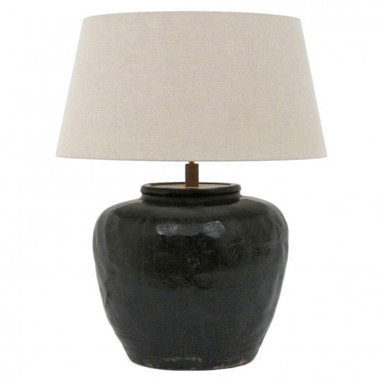 Black Crackle Glazed Terra Cotta Lamp
