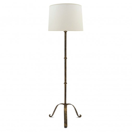 Gilt iron Standing Lamp on tripod Base