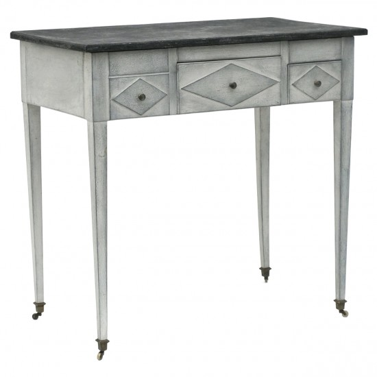 Painted Wood Table with Faux Marble Top