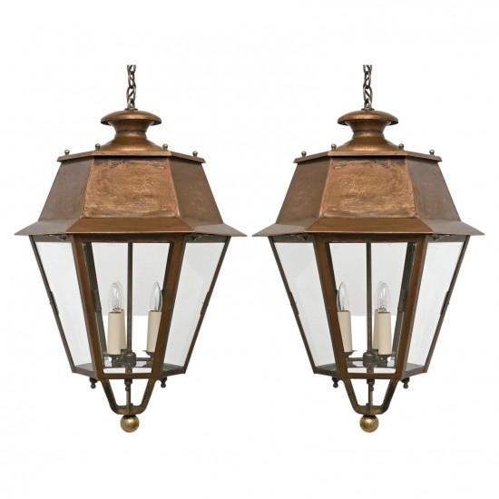 Pair of Hexagonal Copper Lanterns