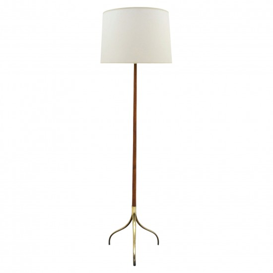 Wood and Brass Standing Lamp