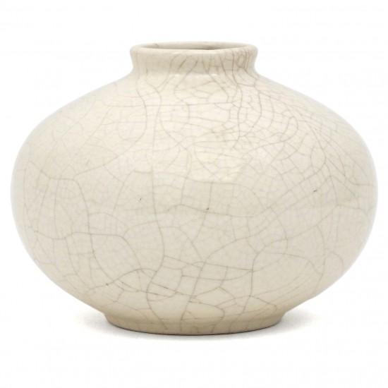Ivory crackle glazed ceramic vase