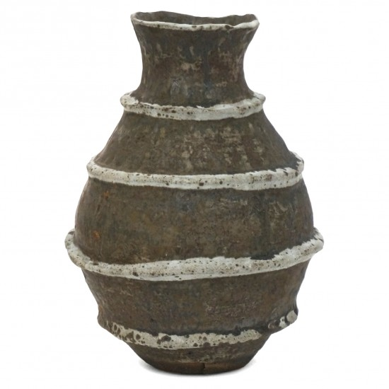 Brown and Gray Stoneware Vase