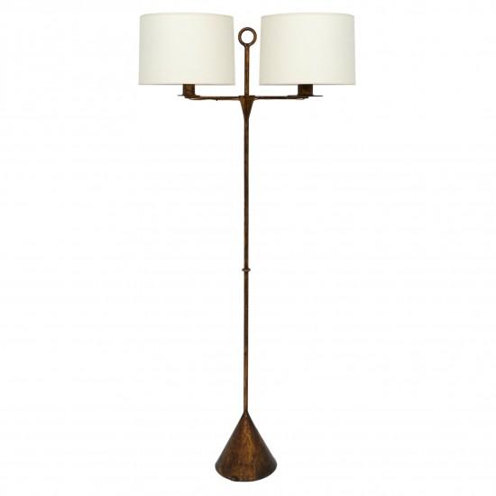 Two-Light Gilt Iron Standing Lamp
