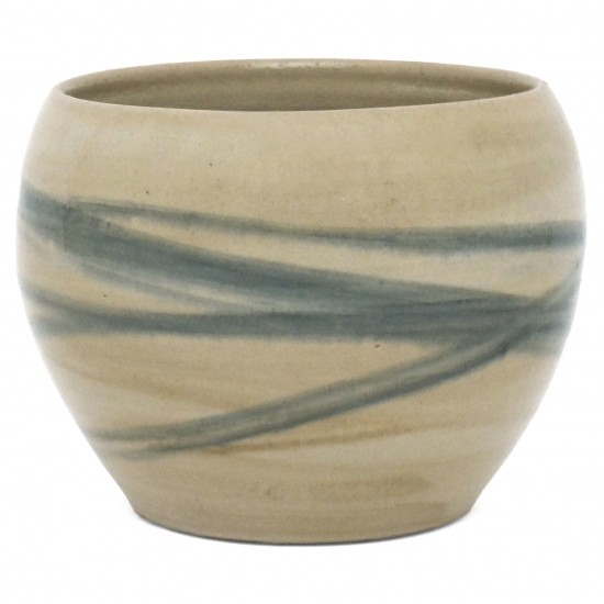 Beige Jardiniere with Blue Striping