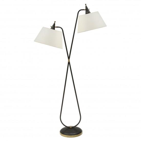 Steel Two Light Standing Lamp