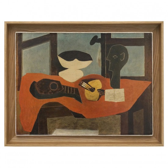 Framed Abstract Cubist Style Oil Painting