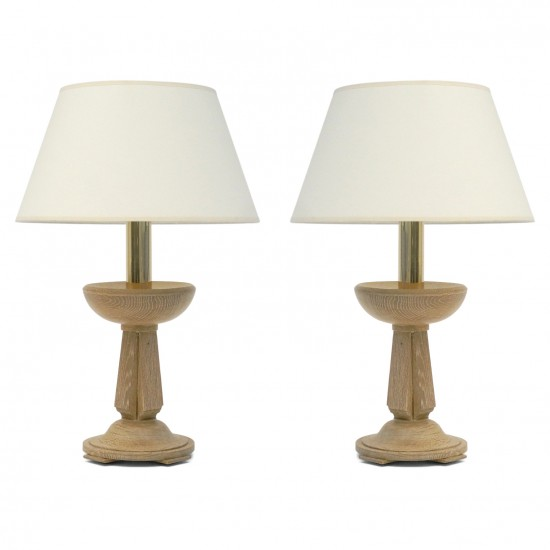 Pair of Cerused Oak Candlestick Lamps