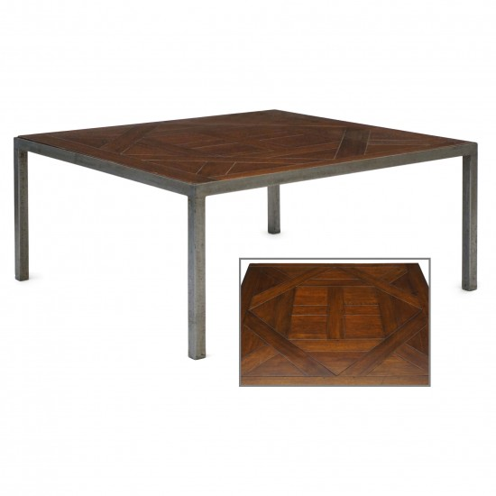 Steel and Parquet Wood Coffee Table
