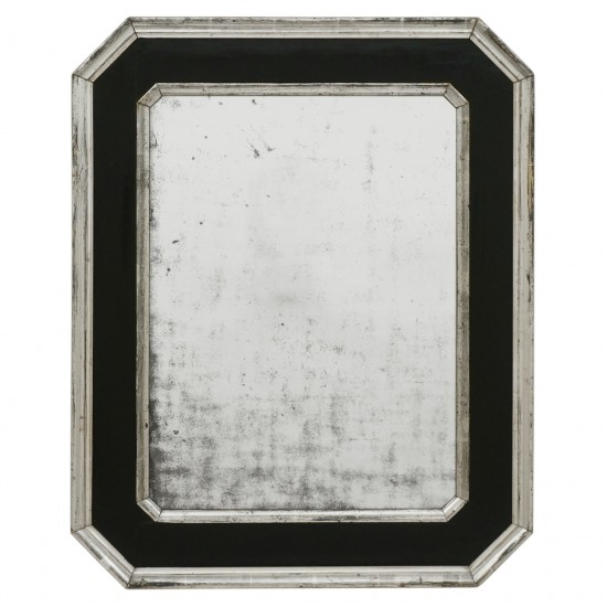 Black and Silver Gilt Wood Mirror
