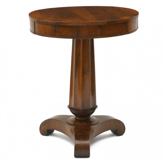 Circular Italian Walnut Pedestal Table