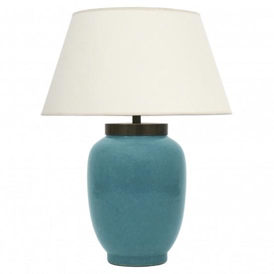 Robin's Egg Blue Crackle Lamp
