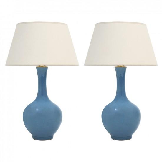 Pair of Blue Long Neck Vases
