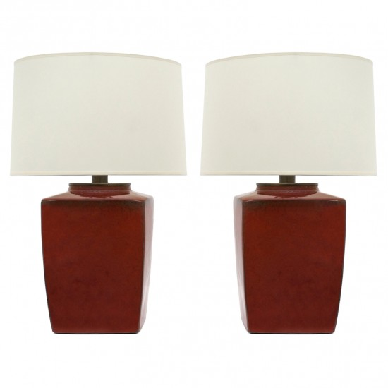 Pair of Antique Chinese Red Table Lamps