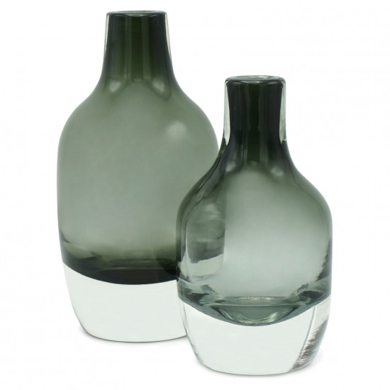 Set of Two Green/Gray Glass Vases