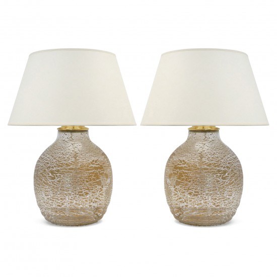 Pair of Glass Table Lamps with Imebedded Gold