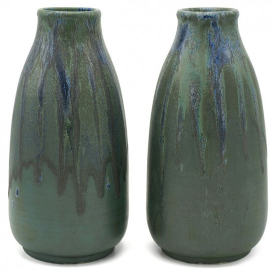 Pair of French Drip Glazed Vases