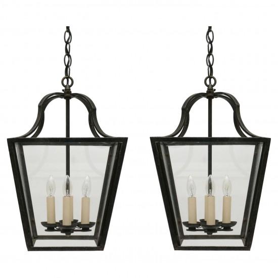 Pair of Four Light Steel Lanterns