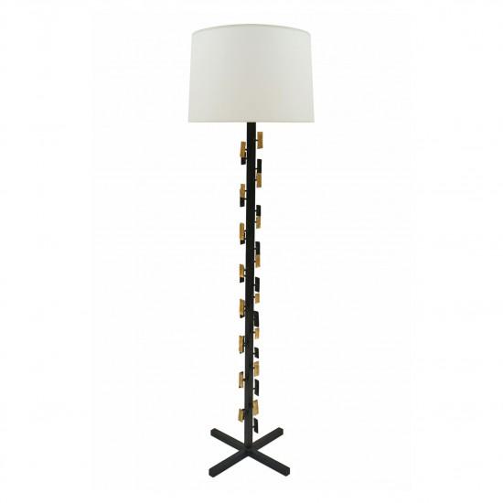 Black Iron and Gilt Metal Standing Lamp