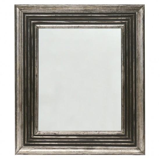 Silver Gilt Wood and Black Framed Mirror