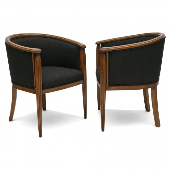 Pair of French Curved Back Armchairs