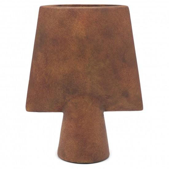 Shaped Terracotta Vase on Base