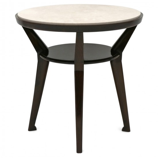Circular Walnut Table and Creme Marfil Marble Top