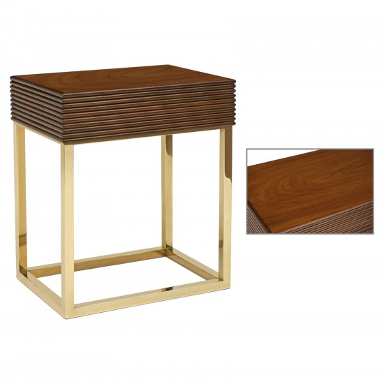 Reeded Walnut and Brass Side Table