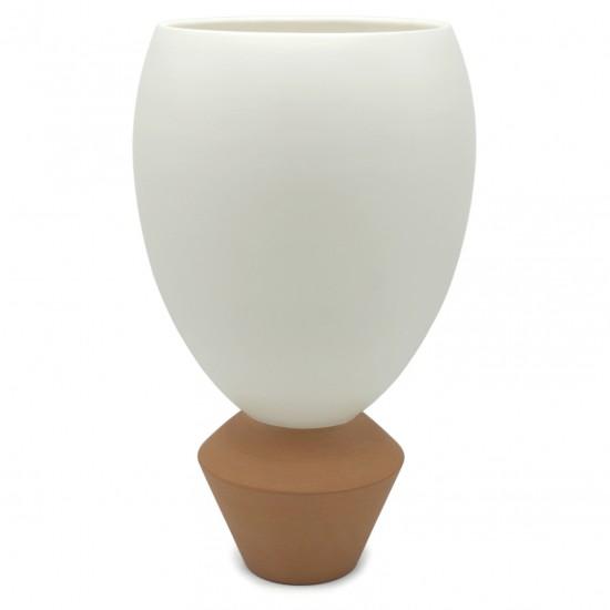 Ceramic Cream Vase with Terra Cotta Base