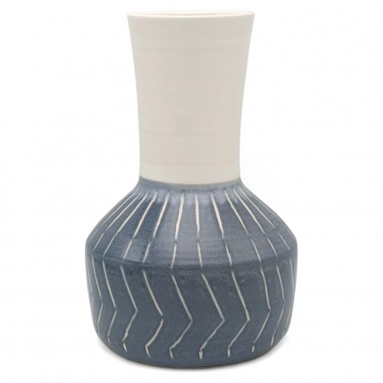Vase with White Elongated Neck and Blue Base