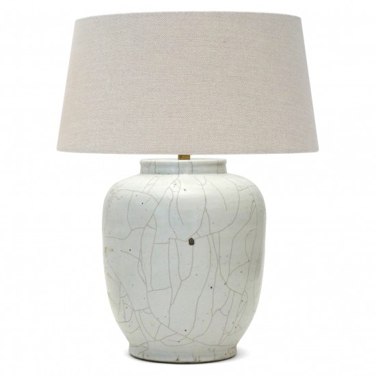 White Crackle Glazed Stoneware Lamp