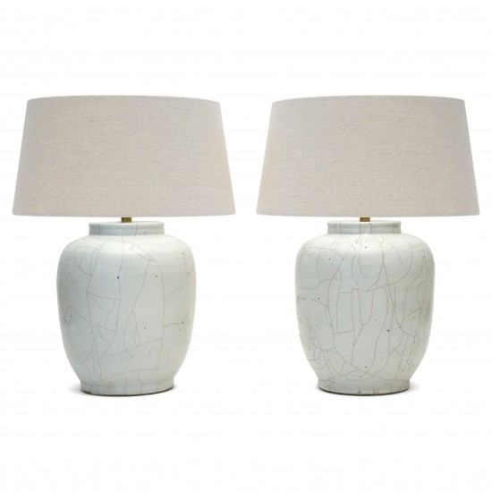 Pair of White Crackle Glazed Stoneware Lamp