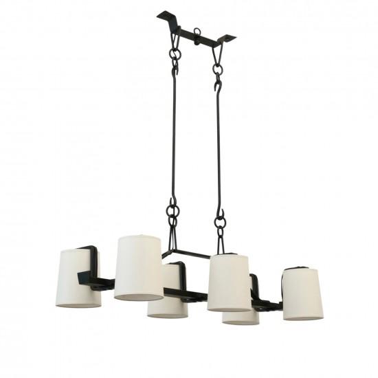 Six Light Rectangular Iron Chandelier