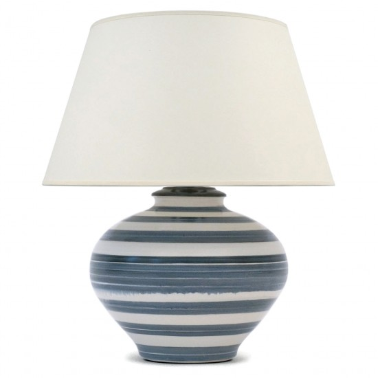 Blue and White Striped Ceramic Table Lamp