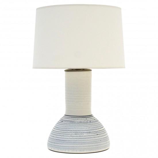 Blue and White Stoneware Lamp