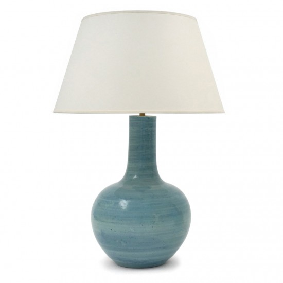 Pair Large Bue Strie Table Lamps