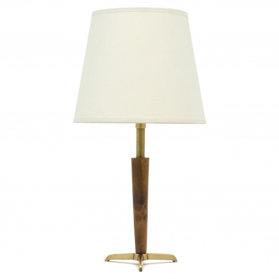 Small Wooden and Brass Table Lamp
