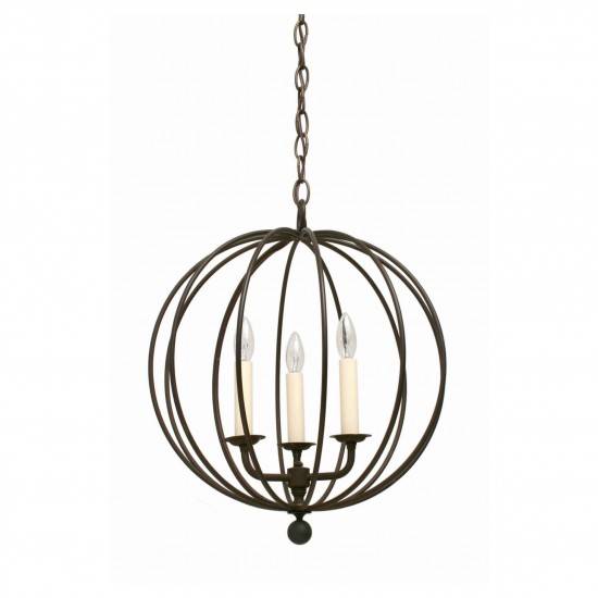 "Three-Light Iron Open Sphere Pendant Light Fixture (14"" Diameter)"