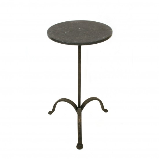 Iron Tripod Drinks Table with Black Marble Top
