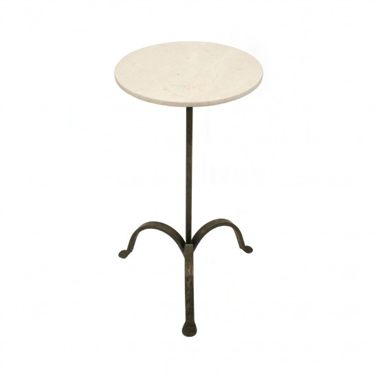 Iron Tripod Drinks Table With Marble Top