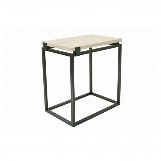Rectangular Iron Table with Floating Creme Marfil Top