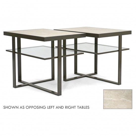 Pair of Two Tiered Asymmetrical Table