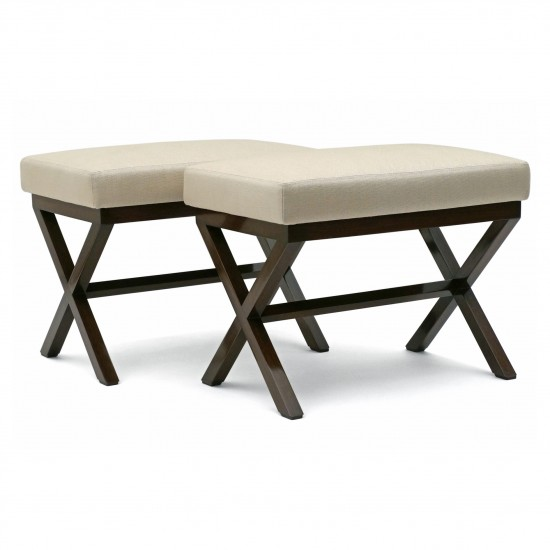 Custom X-Form Walnut Benches with Upholstered Seats