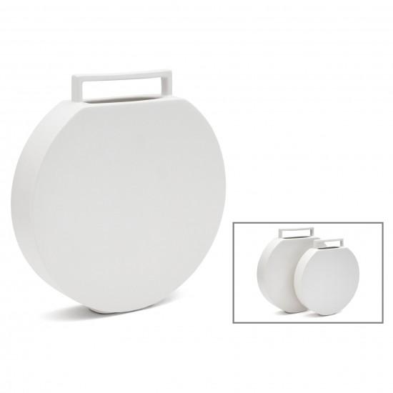 Circular Flat White Ceramic Vase with Handle
