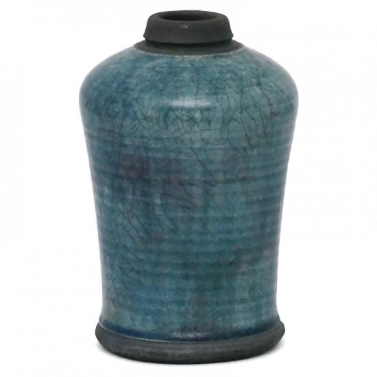 Raku Fired Blue Crackle Vase